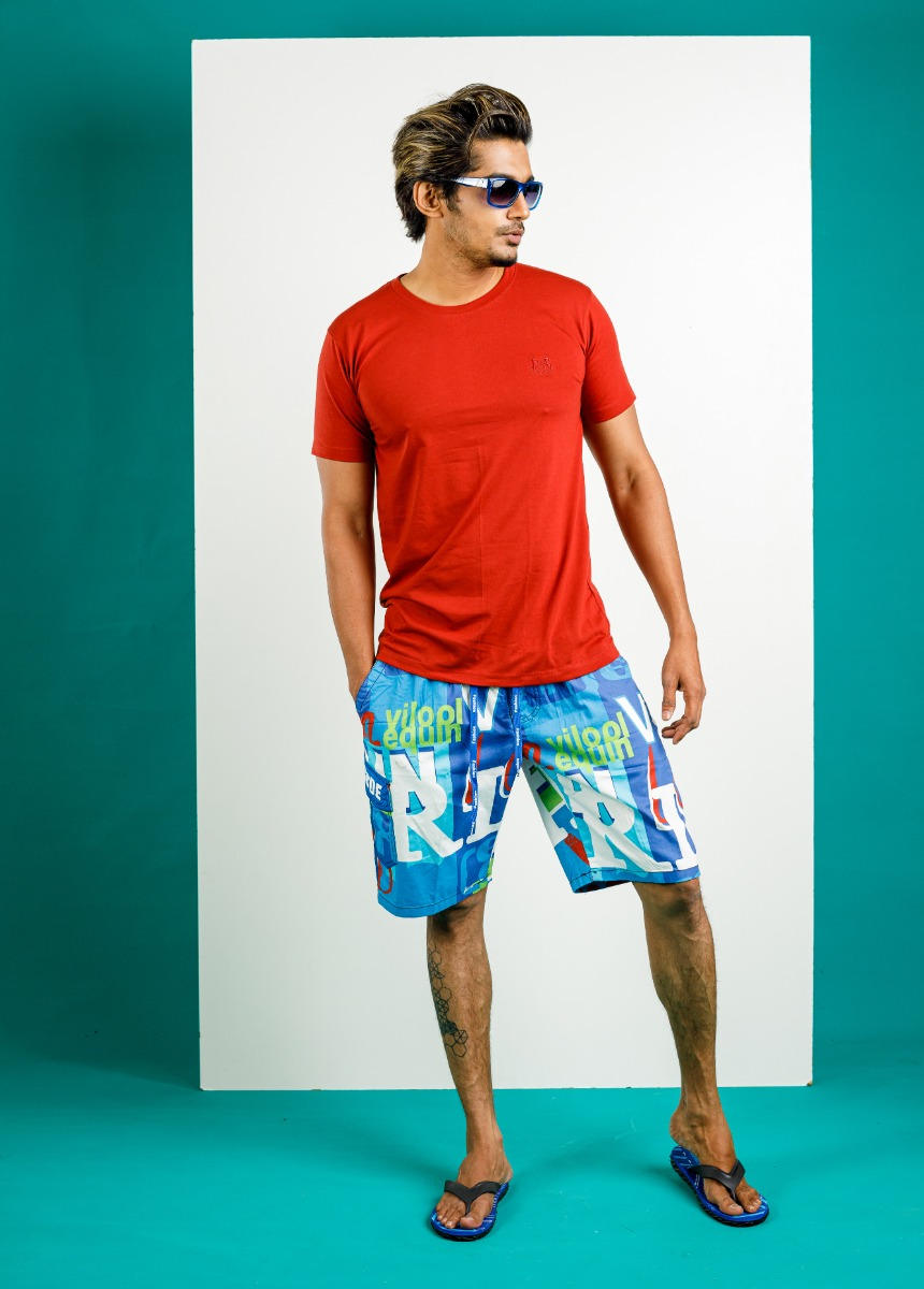 Men Blue & Green Printed Lounge Shorts