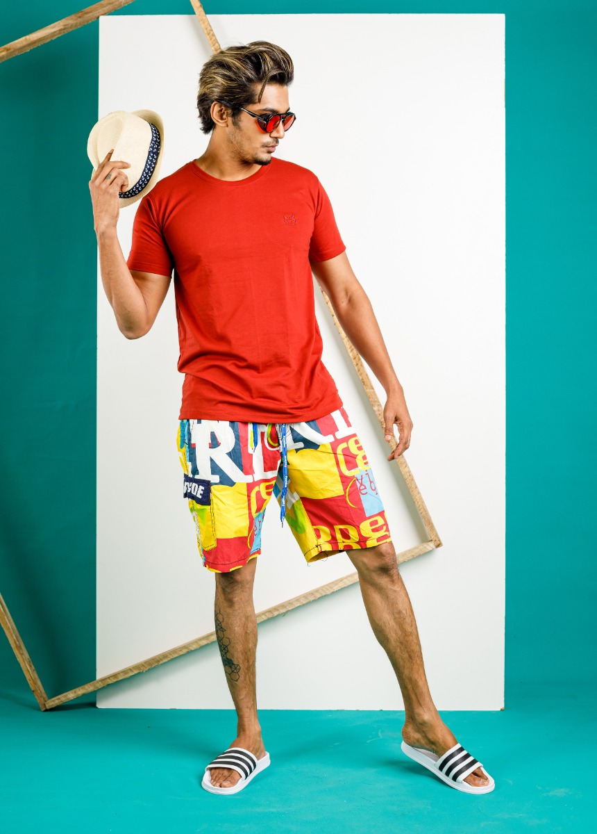 Men Blue & Yellow Printed Lounge Shorts