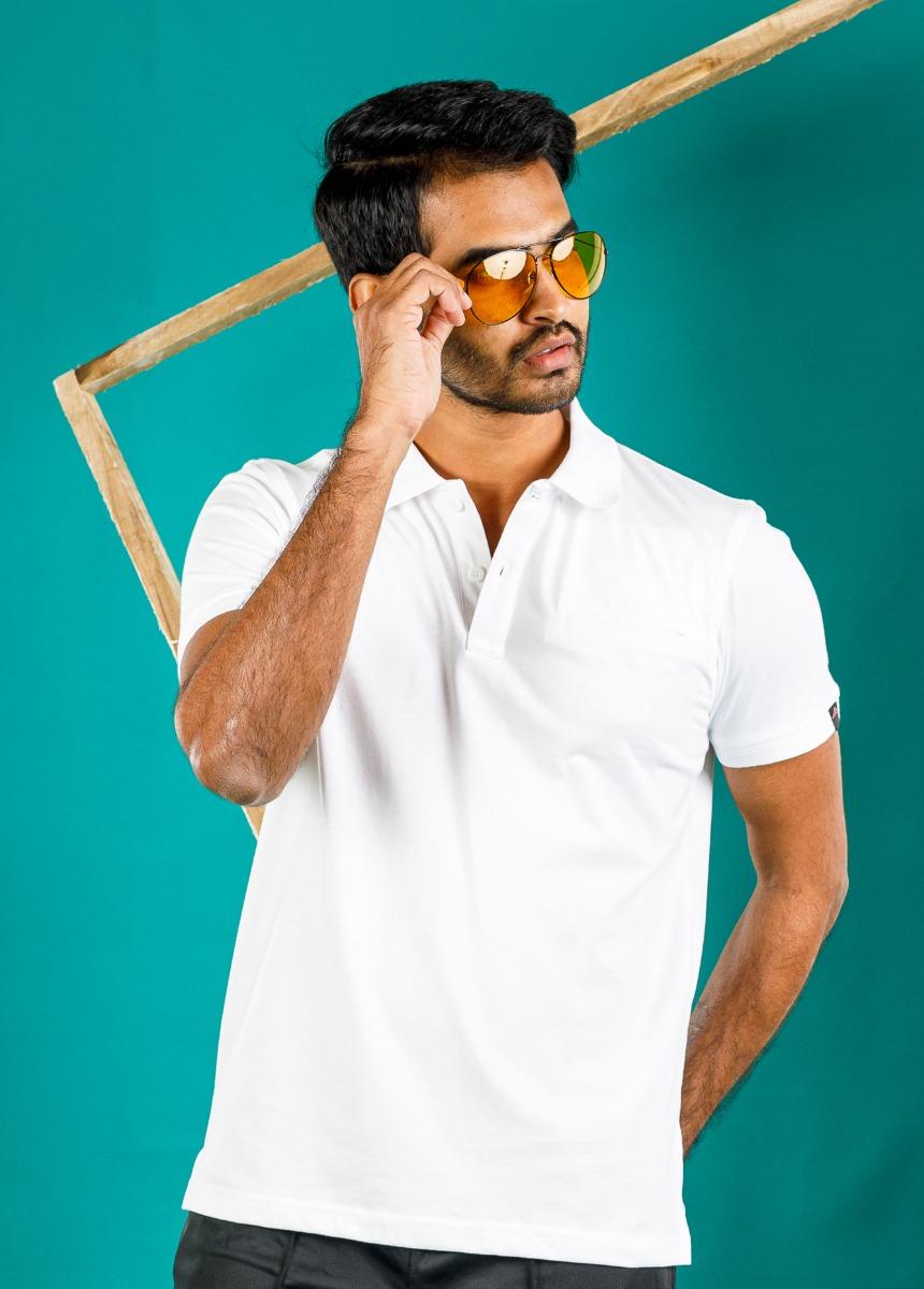 Men White  Solid Polo Collar T-shirt