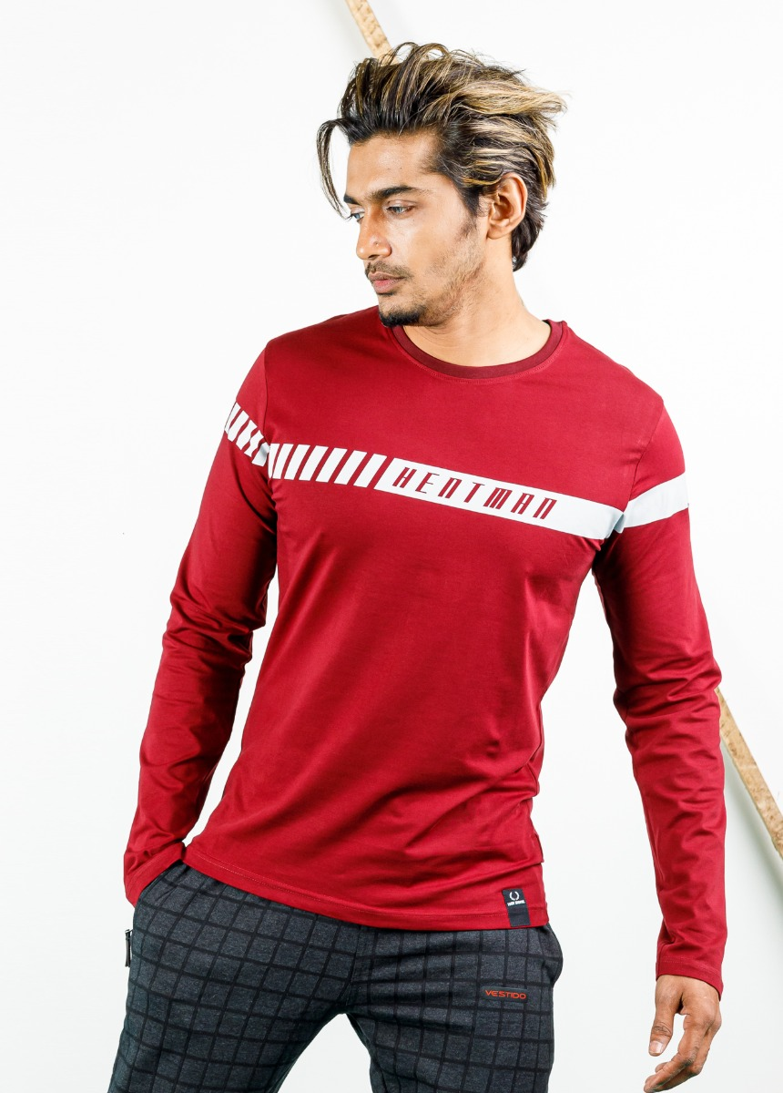 Men Red and White Striped Polo Collar T-shirt