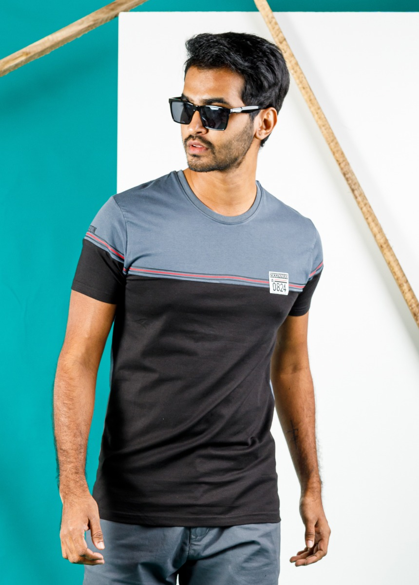 Men Black and Ash  Striped Polo Collar T-shirt