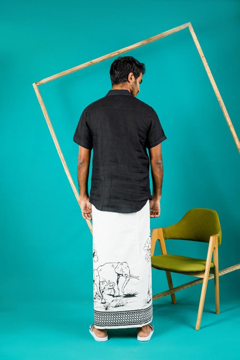 Boys White and Black Printed sarong