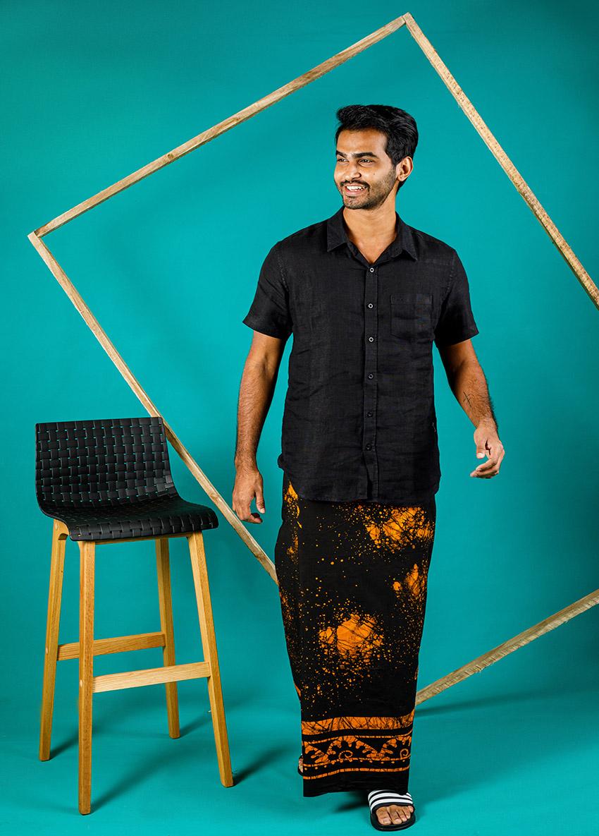 Mens Black  and Orenge Batik Printed sarong