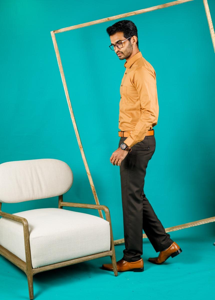 Men's Mustard Slim Fit Formal Shirt