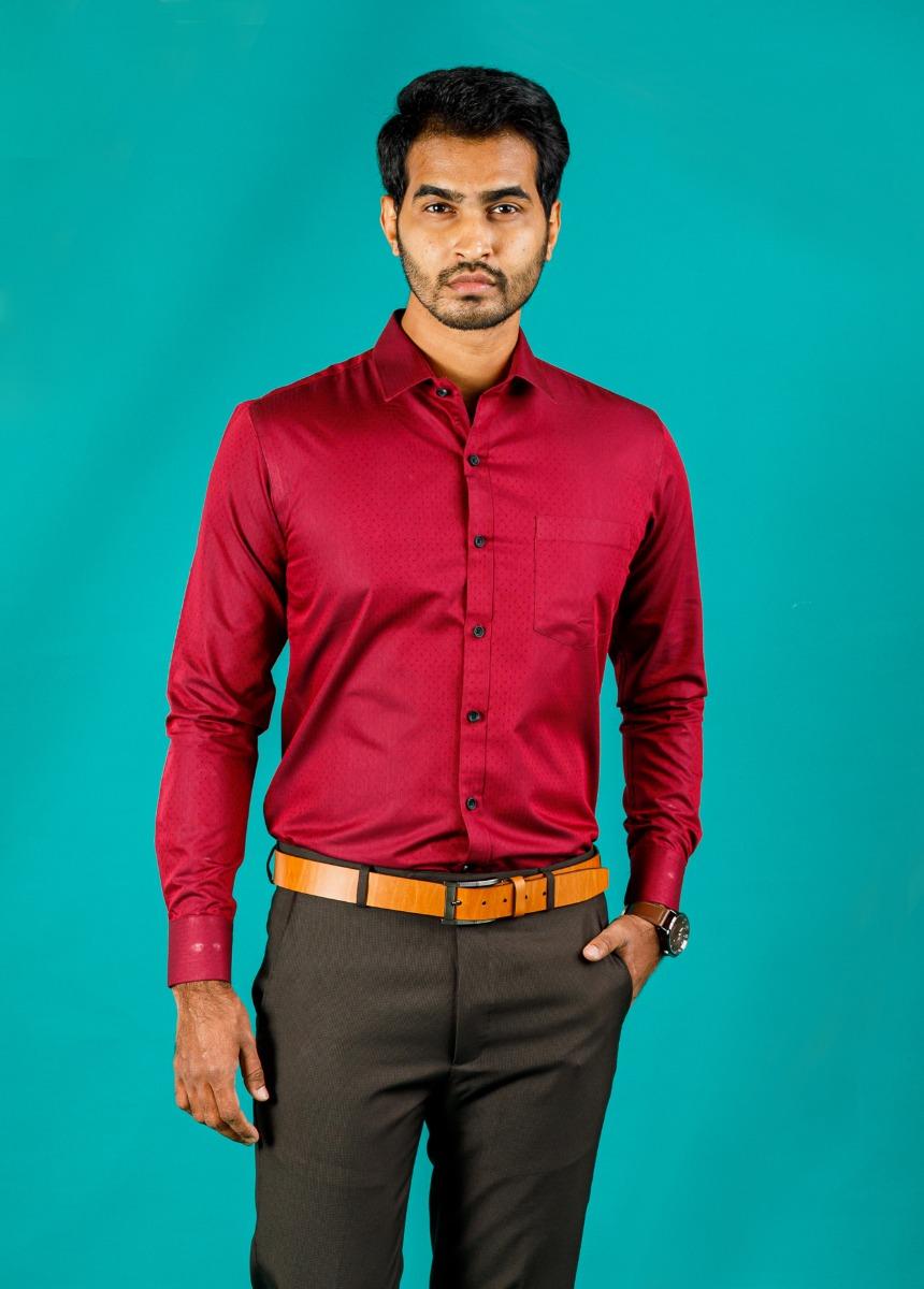 Men's Maroon Slim Fit Formal Shirt