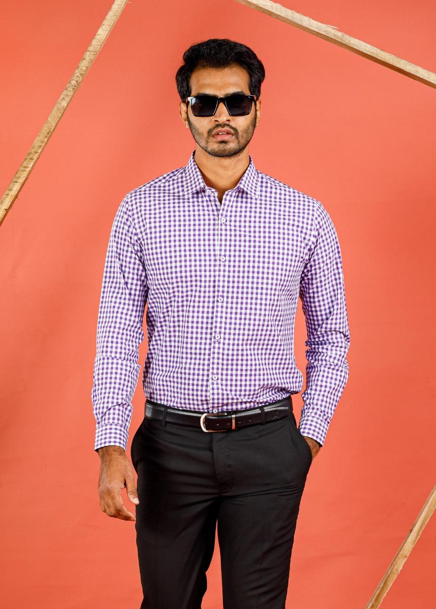 Men's Light Purple & White Slim Fit Striped Formal Shirt