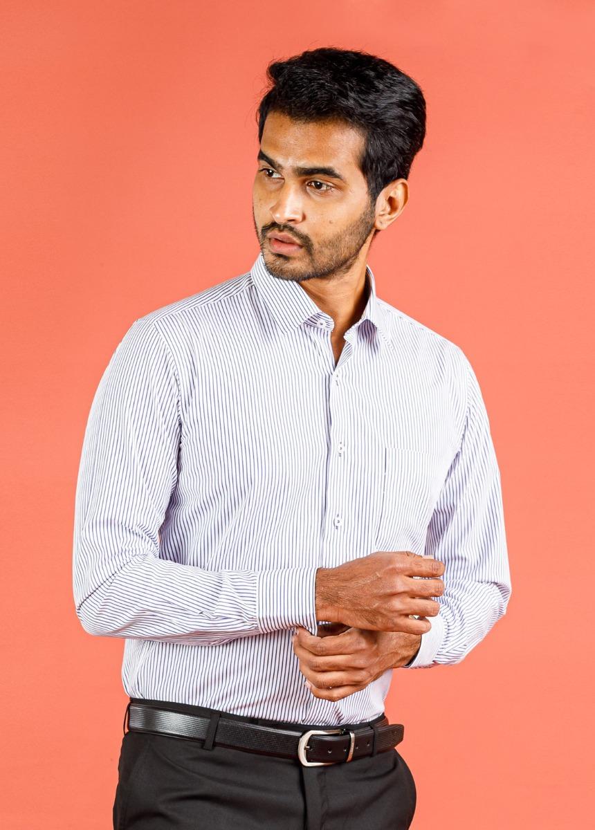 Men's Ash  & White Slim Fit Striped Formal Shirt