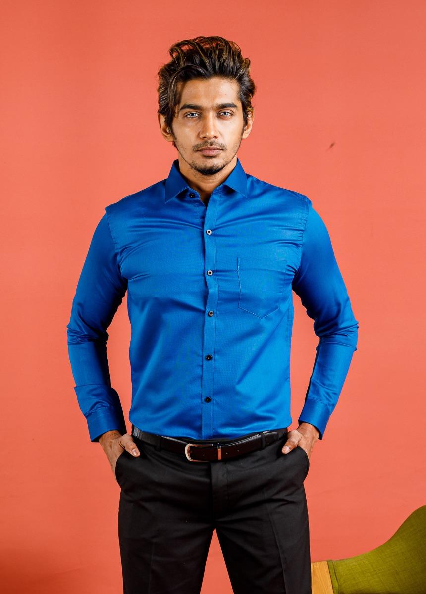 Men's Blue Slim Fit Formal Shirt