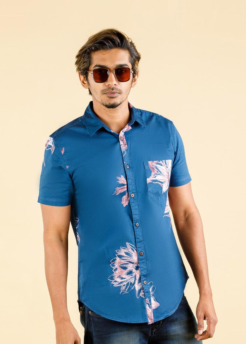 Men Blue & Ping Slim Fit Printed Casual Shirt
